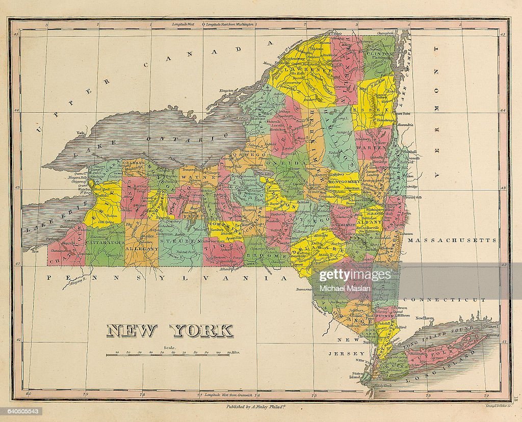 A map of the state of New York, created in 1826, includes the ...