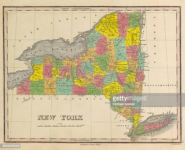 A map of the state of New York created in 1826 includes the counties of Hamilton Tioga Suffolk Albany Delaware and others