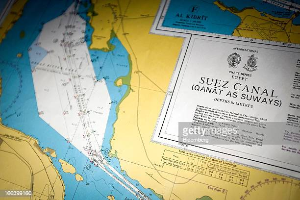 A map of the Suez Canal is seen aboard the Ebba Maersk container ship operated by AP MoellerMaersk A/S as it passes through the Suez Canal in Suez...