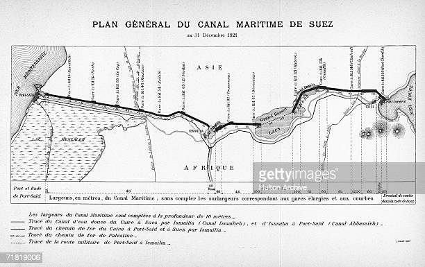 A map of the Suez Canal running south from Port Said on the Mediterranean through Ismailia and the Great Bitter Lake to the Gulf of Suez on the Red...