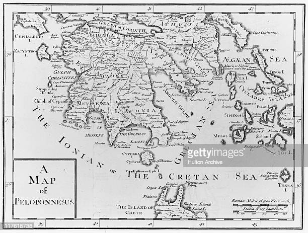 Map of the The Peloponnese peninsula showing the mainland of southern Greece, the Cyclades and the north-west tip of Crete , circa 1790.