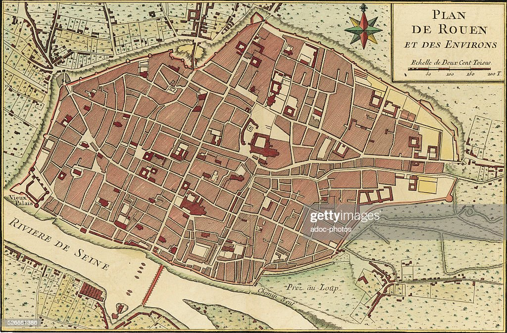 Map of the town of Rouen . In the 17th century. Coloured engraving ...