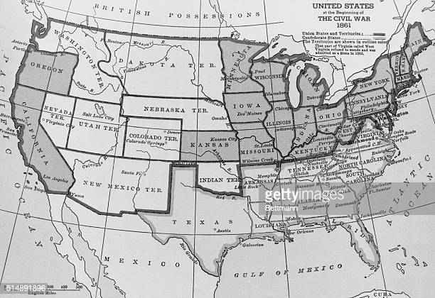 Map of the United States at the beginning of the Civil War 1861