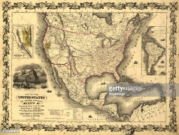 Map of the United States British Provinces Mexico 1849 Illustration by John M Atwood