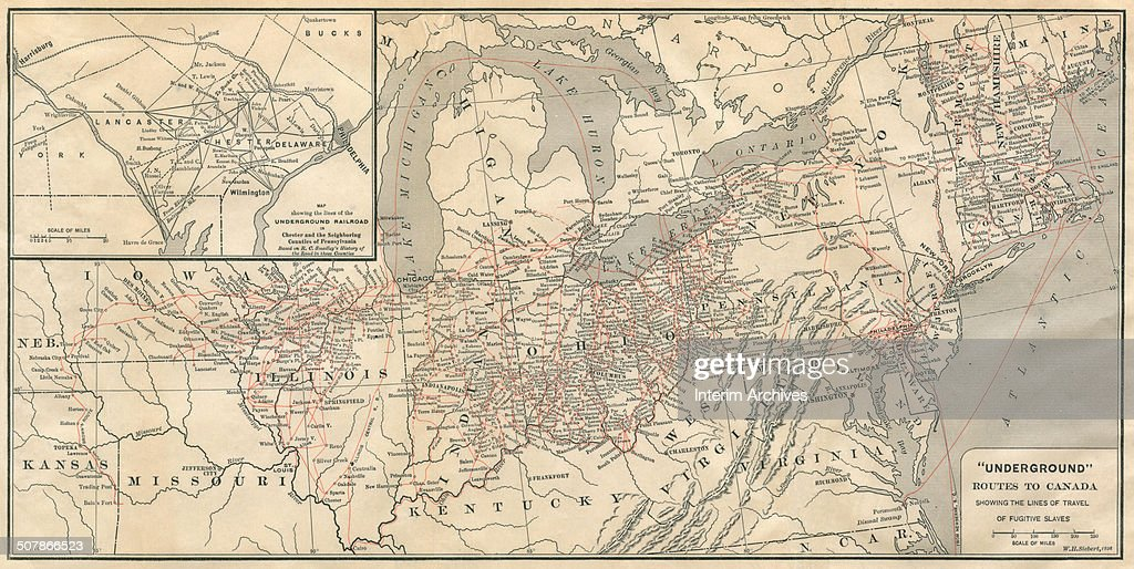 Map of the United States, illustrating the \'underground railroad ...