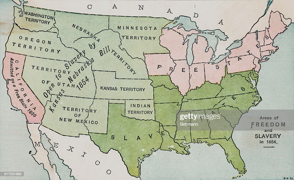 Map of the United States, prior to the Civil War, tinted to ...