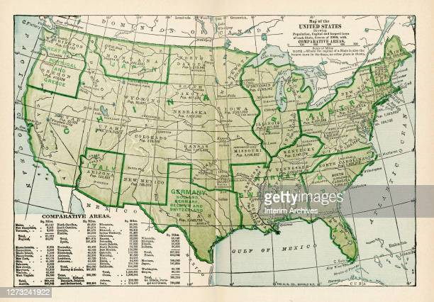 Map of the United States showing the population, capitals and largest towns of each state based on the census of 1900 with comparative areas, based...