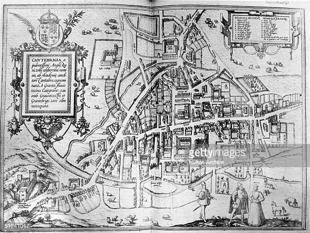 1573 A map of the University town of Cambridge showing all the colleges and the River Cam Original Artist By Hoefnagel