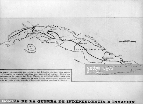 Map of the war of Independence and the invasion The invading column supervised by Gneral Antonio Maceo left the Savanna of Aragua on October 22 1895...