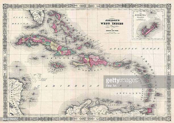 Map of the West Indies and Caribbean by AJ Johnson 1866 Engraving Published in New York Private collection