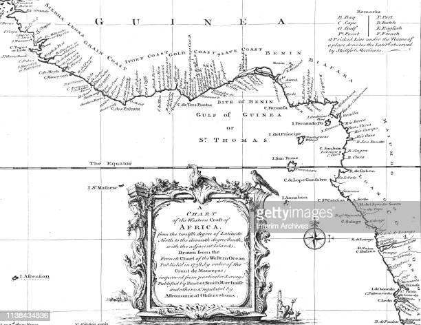 Map of the western coast of Africa, from Sierra Leone southeast to Angola, 1738. It was originally published in John Green's 'A New General...