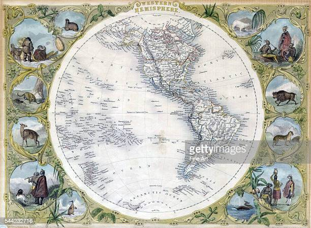 Map of the Western Hemisphere by John Tallis showing North and South America as well as parts of Polynesia Antarctica and Siberia with illustrations...