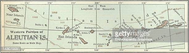 Map Of The Western Portion Of The Aleutian Islands Map Of The Western Portion Of Aleutian Islands Alaska Circa 1902 From The 10Th Edition Of...