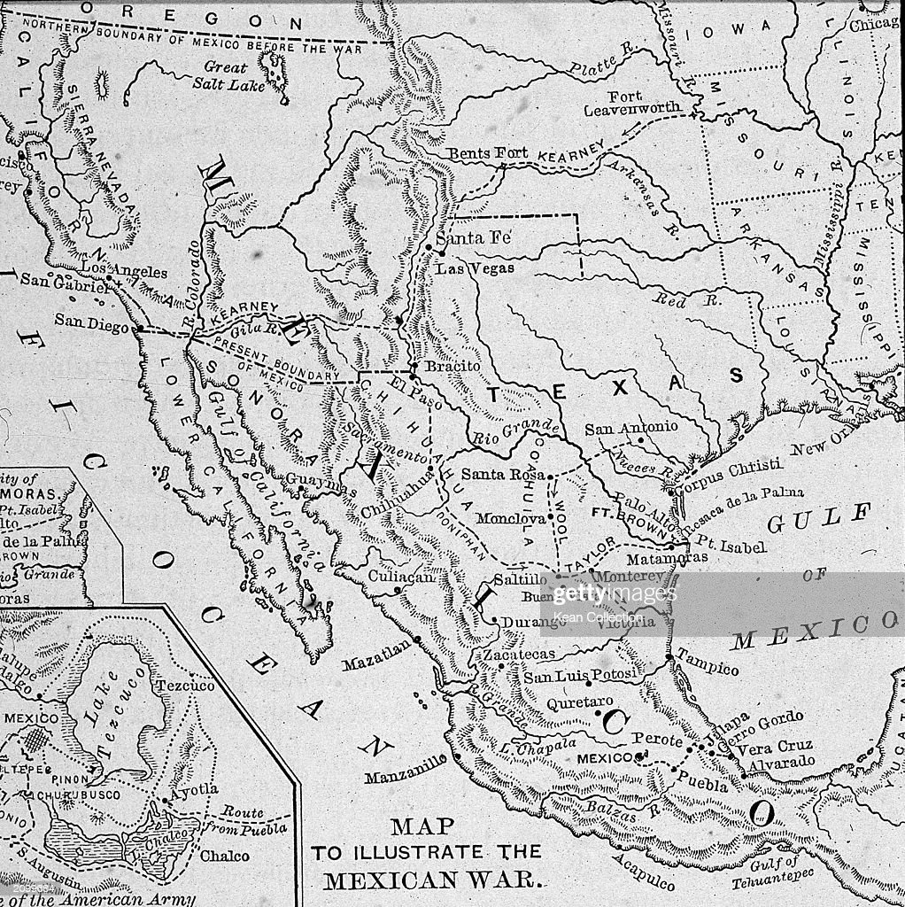 Map Illustrating MexicanAmerican War Pictures Getty Images - Black and white map of western us