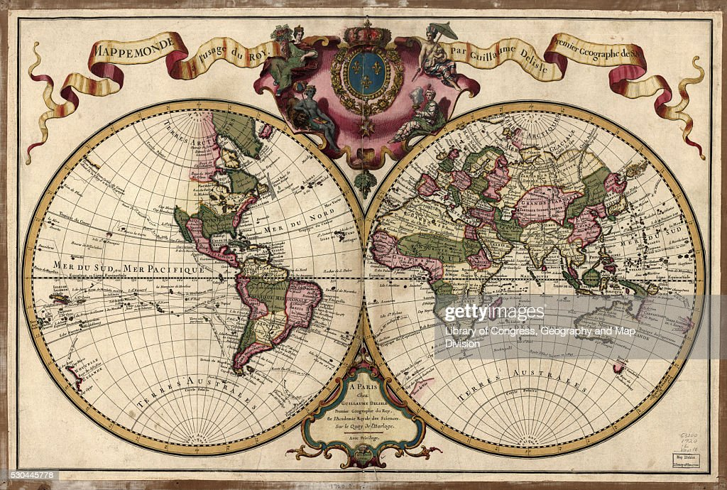 Map of the world, 1720 : Stock Photo