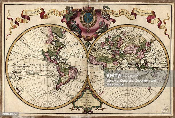 map of the world, 1720 - vintage world map stock photos and pictures