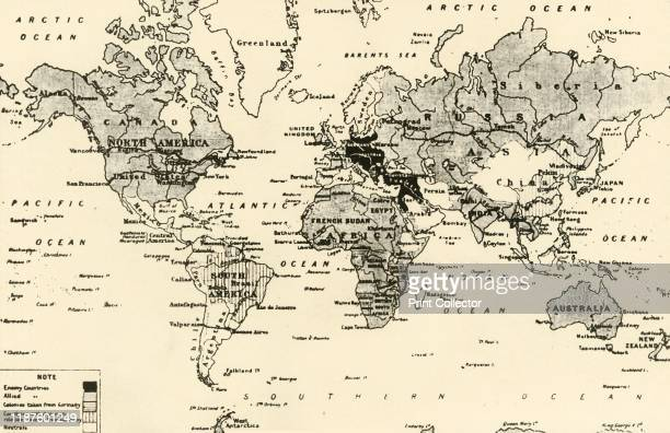 """Map of the World After Three Years of War', 1917.From """"The War Illustrated Album De Luxe - Volume VIII. Ending The First Three Years"""", edited by J...."""