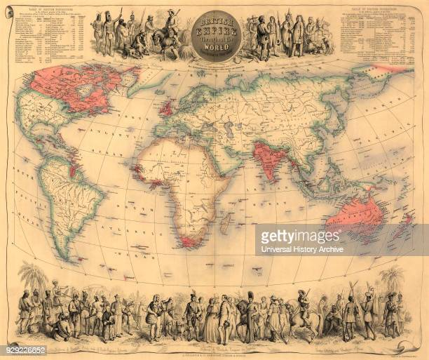Map of the world circa 1870 with possessions of the British Empire coloured red. The map first appeared in Fullarton's Royal Illustrated Atlas,...