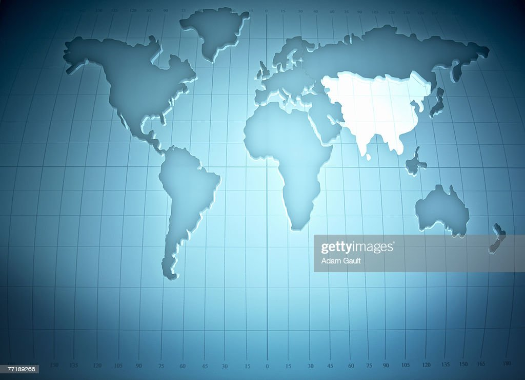 Map of the world highlighting Asia : Bildbanksbilder