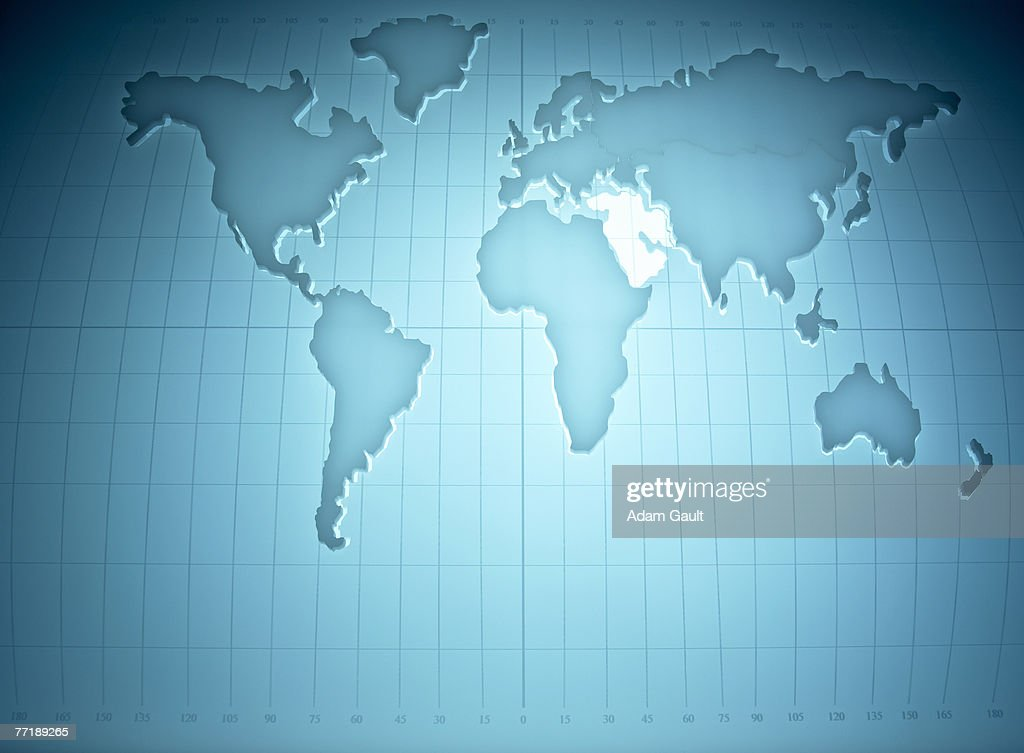 Map of the world highlighting the middle East : Stock Photo