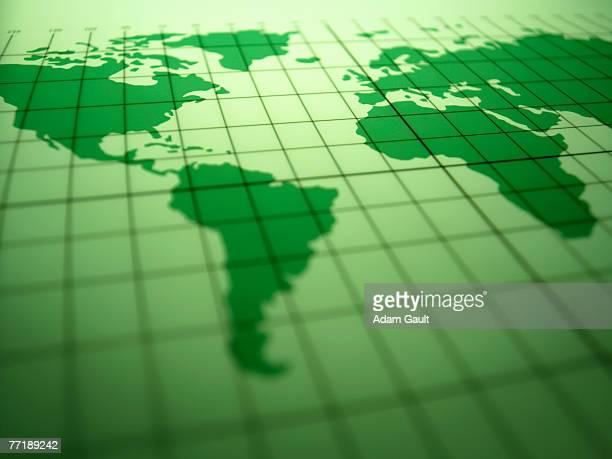 map of the world - längengrad stock-fotos und bilder