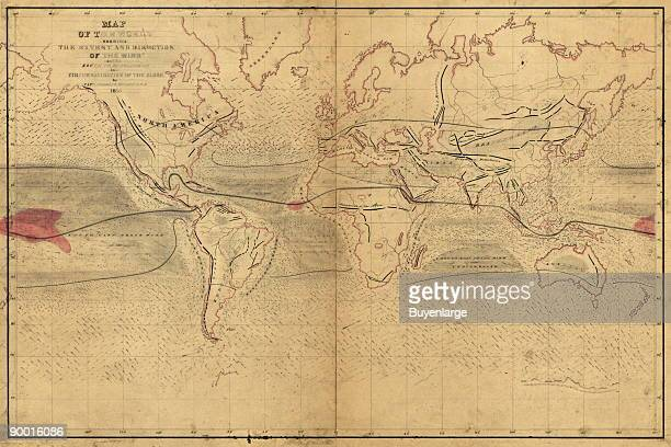 Map of the world shewing the extent and direction of the wind and the route to be followed in a circumnavigation of the globe
