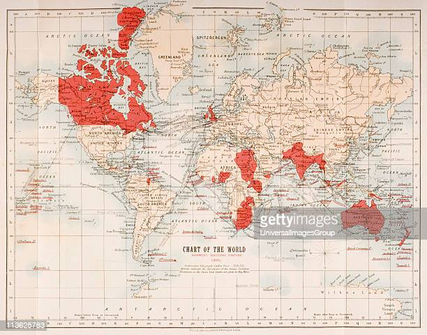 Map of the world showing in red the extent of the British Empire in 1901