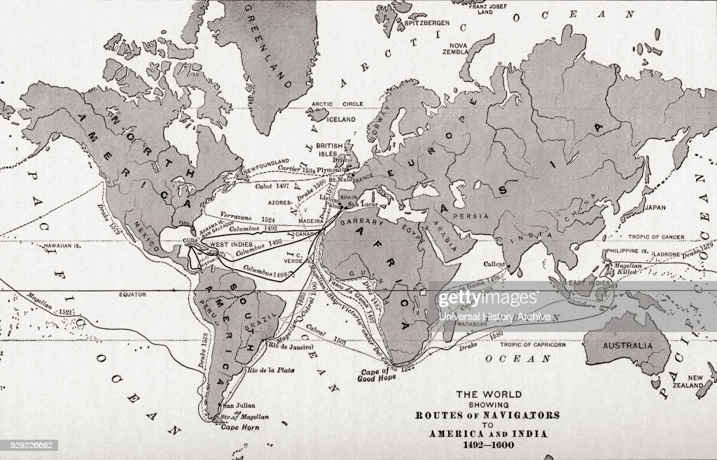 Map Of The World Showing The Routes Of Navigators To America And News Photo Getty Images