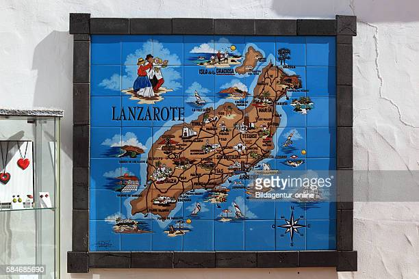 Map of tiles Yaiza Lanzarote Canary islands canaries spain