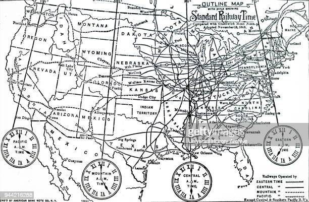 Map of time zones into which the US was divided after the adoption of Standard Time on 18th November 1883 Dated 19th century
