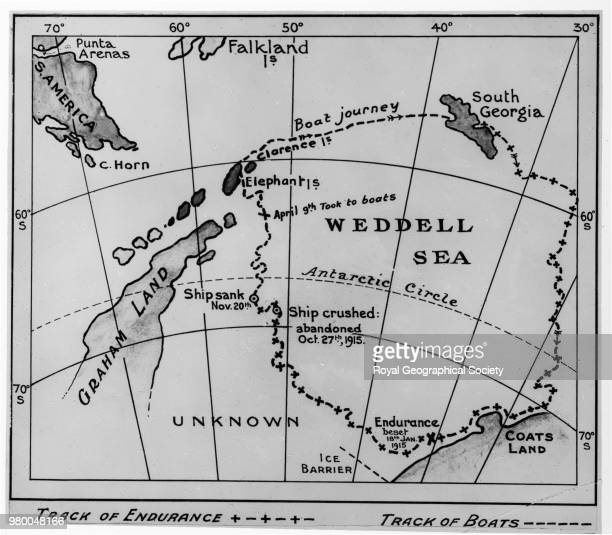 Map of track of the 'Endurance' in Weddell Sea Antarctica 1914 Imperial TransAntarctic Expedition 19141916