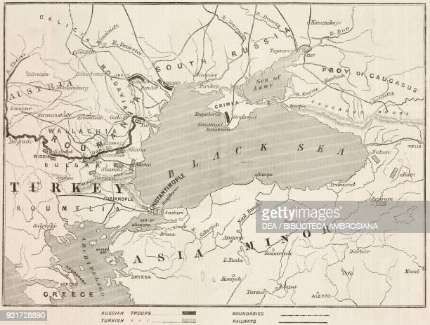 Map of Turkey and Southern Russia showing the relative positions of the Russian and Turkish Armies the impending RussoTurkish war illustration from...