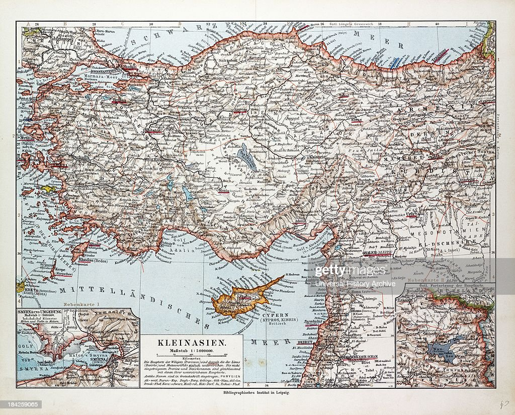 Map Of Turkey, Cyprus And Syria, 1899 Nachrichtenfoto ...