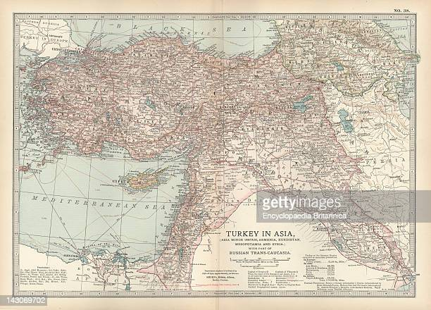 Map Of Turkey Map Showing The Historical Boundaries Of Turkey In Asia Circa 1902 From The 10Th Edition Of Encyclopaedia Britannica