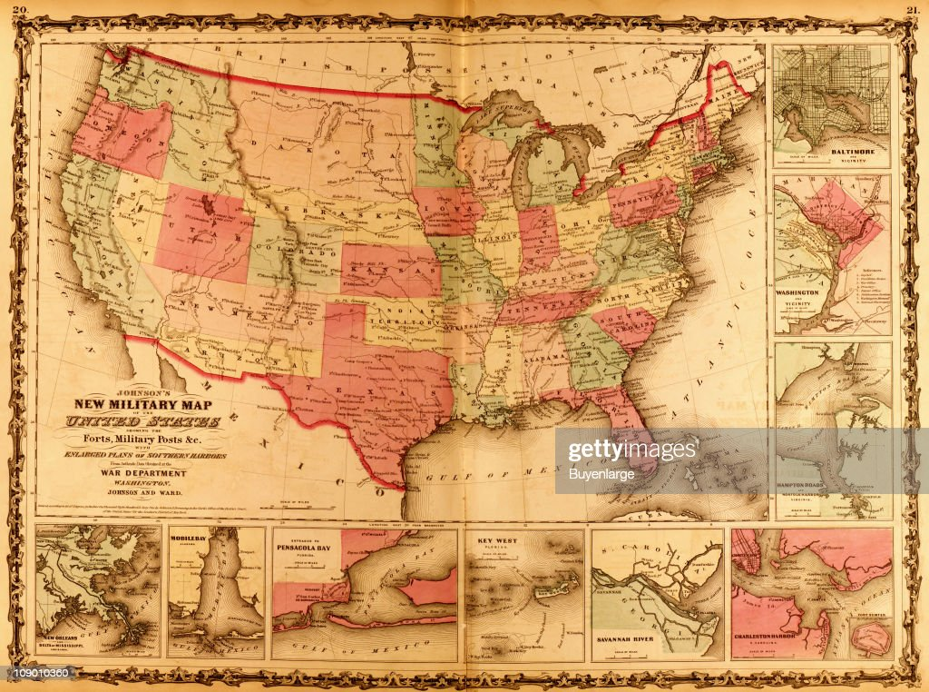 A map of United States highlights various military ...