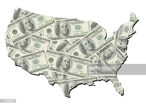 Carte des États-Unis avec une note aléatoire de 100 dollars