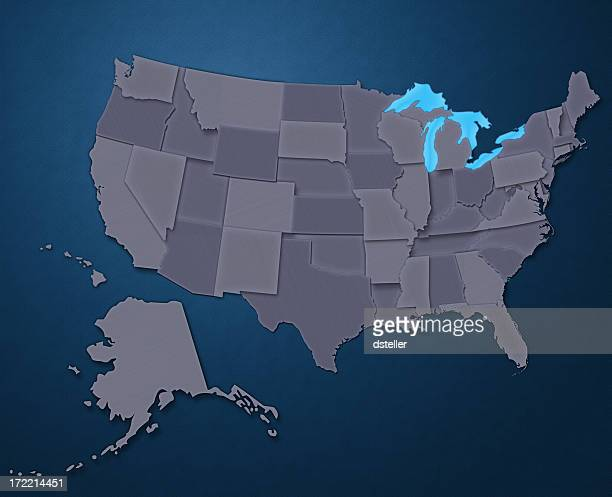 Map of USA (Steel Blue)
