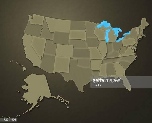 Map of USA (Earthen Tones)