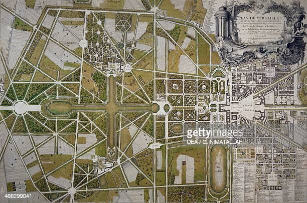 Map of Villa Mansi and its gardens in Capannori engraving Italy 18th century