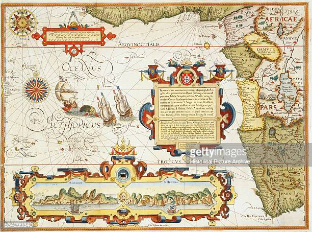Map of Western Africa by Arnold Florent van Langren after Jan Huygen van Linschoten