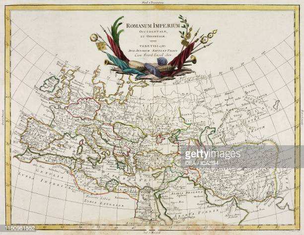 Map of Western and Eastern Roman Empires engraving after a drawing by Pitteri from Atlante Novissimo Volume IV published by Antonio Zatta Venice...