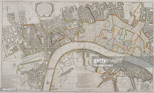 Map of Westminster the City of London Southwark and surrounding areas 1739 With a list of watermen's and hackney coach fares