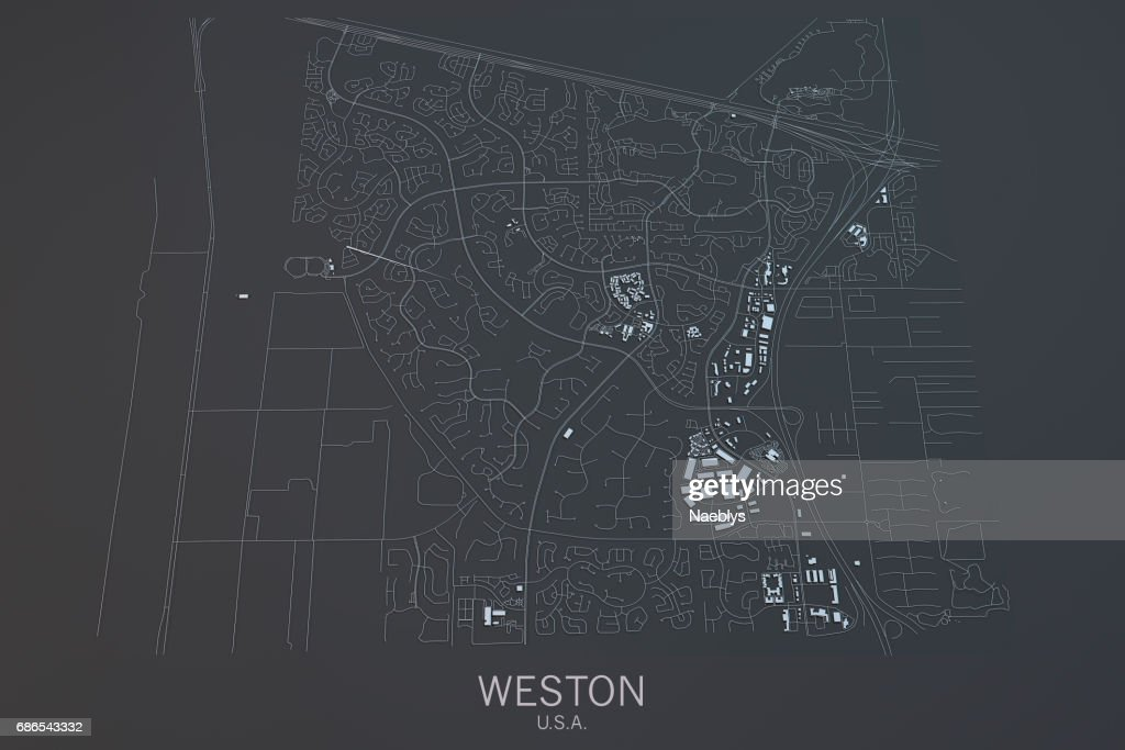 Map Of Weston Satellite View City Florida Usa High-Res Stock ... Satellite Maps Of Usa Black And White on black and white portraits of women, latitude and longitude of usa, black and white map of asia,