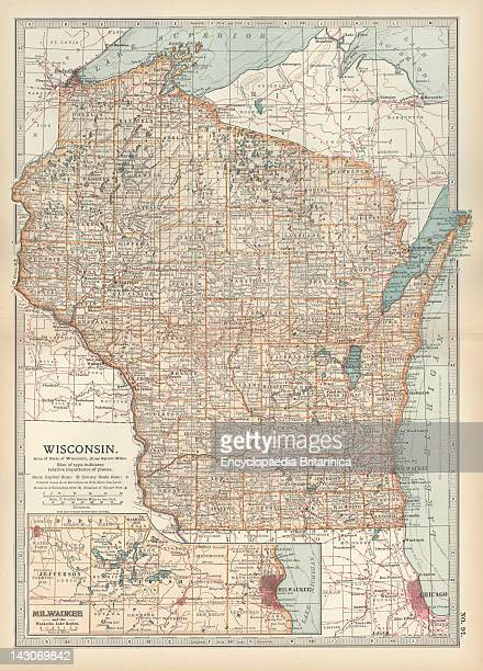 Map Of Wisconsin Map Of Wisconsin United States With An Inset Map Of Milwaukee And The Waukesha Lake Region Circa 1902 From The 10Th Edition Of...