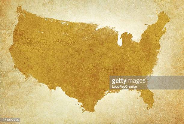 USA map on aged parchment