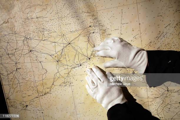 A map on the wall of the Coastal Artillery Operations Room in the subterranean tunnels underneath Dover Castle which has been restored by English...