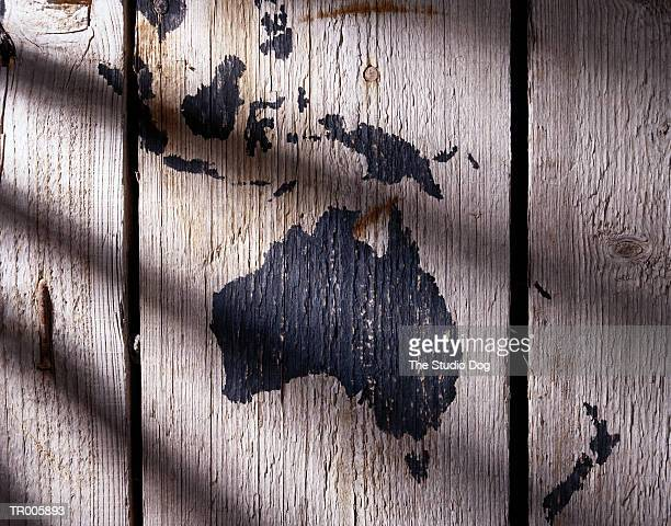Map on Wood of Australasia