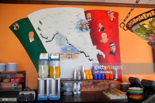 A map painted on the wall at Luna Rossa Italian Grill