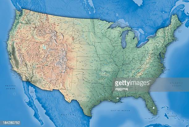 usa map - verenigde staten stockfoto's en -beelden