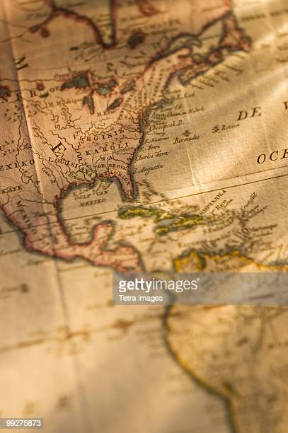 map - vintage world map stock photos and pictures
